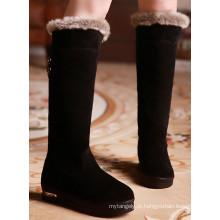 Novas Botas de Neve Negras Estilo / Botas de Inverno para Mulheres / Botas de Salto Liso