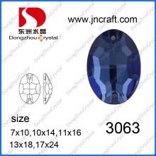 Pedra de vidro oval traseira lisa com dois furos (DZ-3063)