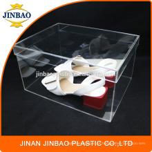 Caixa de sapato de caixa de sapatilha de acrílico transparente clara Jinbao personalizado