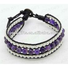 Freundschaft Amethyst Runde Perlen Wrap Armbänder