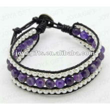 Friendship Amethyst Round Beads Wrap Bracelets