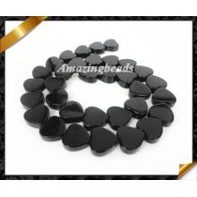 Cuentas de corazón, joyas de perlas sueltas de piedras preciosas negro, perlas de ágata de ónix (AG016)