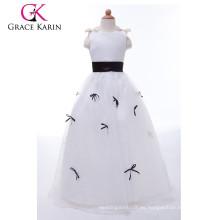 Grace Karin blanco y negro satinado largo último partido desgaste vestidos para las niñas CL4489