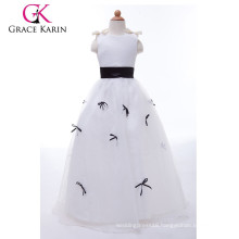 Grace Karin Black And White Long Satin Latest Party Wear Dresses For Girls CL4489