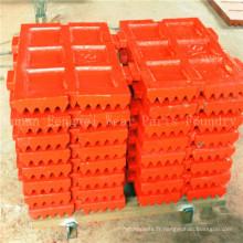Le concasseur à mâchoires en acier au manganèse à haute teneur en manganèse pièces le plat de mâchoire