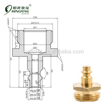 Standard-Luftkompressor männlich Gartenschlauch Messingbeschlag