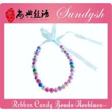Linda Handmade Fita De Natal De Renda Colorida Beads Bebês Colar