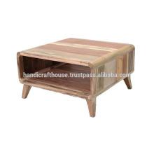 Mesa de café de armazenamento de madeira sólida pequena pequena