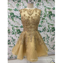 Short Gold Color Evening Dress