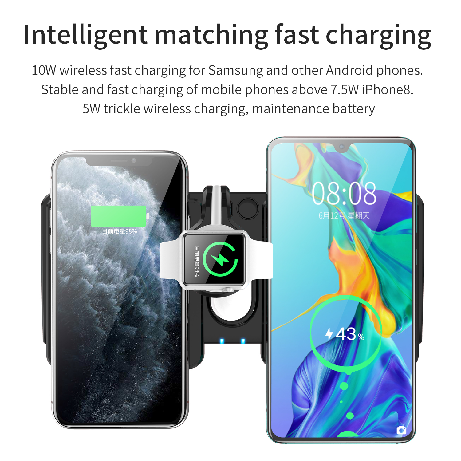 wireless charger for Apple Watch iWatch 5 4 3 2 1, Airpods,iPhone 11 11 Pro X Xs XR Max 8 Plus 8,Samsung Galaxy S9 S8