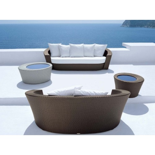 Utomhus PE Rattan Round Daybed