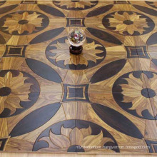 Noble Flower Pattern Walnut Wood Parquet Flooring For Sale