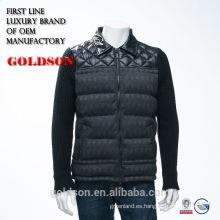 Moda caliente de las ventas tejidas y mezcló la chaqueta mezclada del invierno de los hombres sin la capilla