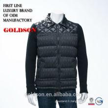 Vêtements chauds à la mode tissés et tricotés Hommes hiver Down Jacket sans capuche