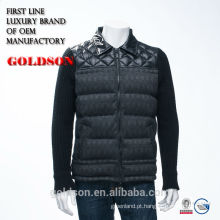 Hot Sale moda tecida e Knit mixed Men inverno Down Jacket sem capuz