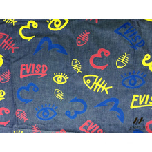 100% Cotton Color Printed Denim (FISH)