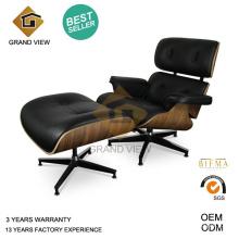 Cuero negro clásico madera nogal oscuro de la Eames Lounge Chair (GV-EA670)
