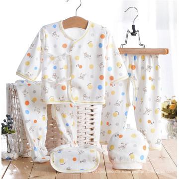 Baumwolle bedrucktes Neugeborenes Baby-Säuglingskleid 5PCS