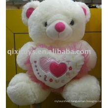 stuffed valentine teddy bear with heart