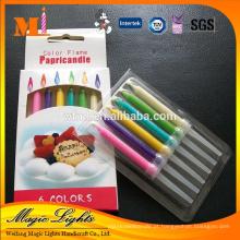 Recurso de chama de cor e uso de aniversário Velas de bolo de aniversário