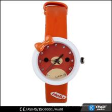 Relógio de cintura de personagem de desenho animado relógios de couro de couro PU, relógio de gatinho de olá