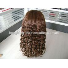 оптовая коричневый вьющиеся индийский Реми волос полный парик шнурка