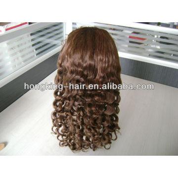 En gros brun bouclés indien remy cheveux pleine perruque de dentelle