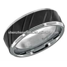 2013 Modeschmuck Wolfram Ring Schwarz Streifen