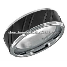 Raya del negro del anillo del tungsteno de la joyería de la manera 2013