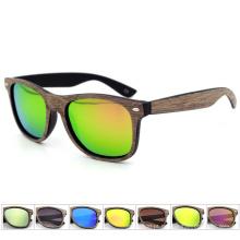 Vendas dos novos óculos de madeira de bambu Real sunglasses2017 de couro de madeira