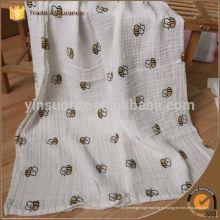 La mejor calidad de bebé Muslin Swaddle manta con Custom Bee Design