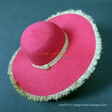 Chapeau de paille design populaire Frayed Edge pour dames