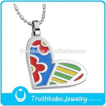 TKB-JP0168 Pendentif en acier inoxydable avec bijoux en forme de coeur en émail pour femmes