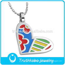 TKB-JP0168 Women Special Art Design enamel heart shaped jewelry stainless steel pendant