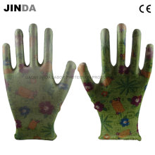 PU Coated Polyester Shell Labor Protective Garden Work Gloves (PU001)