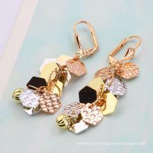 Boucles d'oreille à la mode multicolore feuilleté (21427)