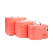 Bolsos cosméticos Bolsa de belleza de color sólido Set 3 piezas de PU