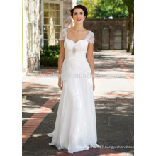 NA1020 New Arrival A-line Sweetheart Sweep Train Lace Chiffon Cap Sleeves Wedding Dress