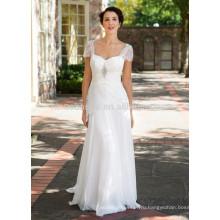 NA1020 новое Прибытие-line милая Sweep поезд шифон кружева рукава Cap свадебное платье