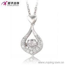 32542-Moda Mais Novo Rhdium CZ Diamante Duplo Coração Pingente de Colar de Jóias para Meninas ′ Presentes