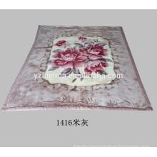 Beige Gray Flower Printed Raschel Mink Plush Blankets