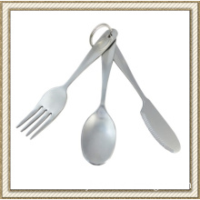 Stainless Steel Camping Cutlery with Key Ring (CL2C-DBL6B)