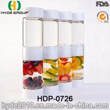 Botella de infusión de fruta plástica de Tritan BPA de la caja doble (HDP-0726)