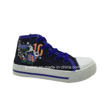 Zapato de lona superior lindo de la impresión de los niños (H325-S & B)