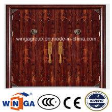 Doble tamaño de alta calidad exterior de acero de seguridad puerta de metal (W-SD-01)