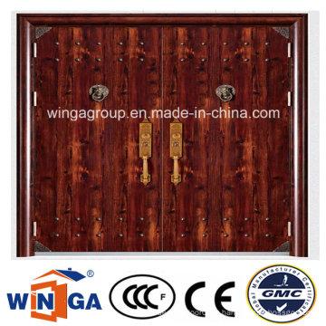Double taille de sécurité extérieure de haute qualité Porte métallique en acier (W-SD-01)