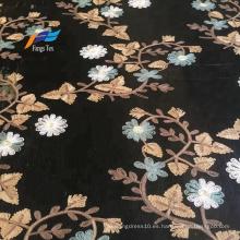 Vestido de mujer con bordado de flores de Tokay africano, tela negra
