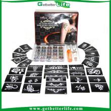 2015 getbetterlife Sparkle temporária Glitter tatuagem Kit 20 cores 30 pcs tatuagem jogos do tatuagem do brilho diamante do estêncil
