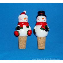 Resina Snowmen Bottle Stopper para Decoração de Natal
