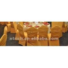 usine de couverture de chaise universelle, CTS876, style plissé, 200GSM meilleur tissu lycra